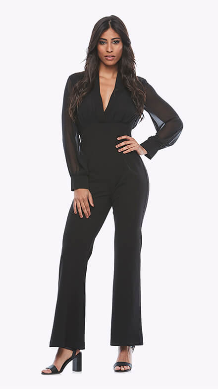 stretch crepe jumpsuit with long chiffon sleeves and V neckline