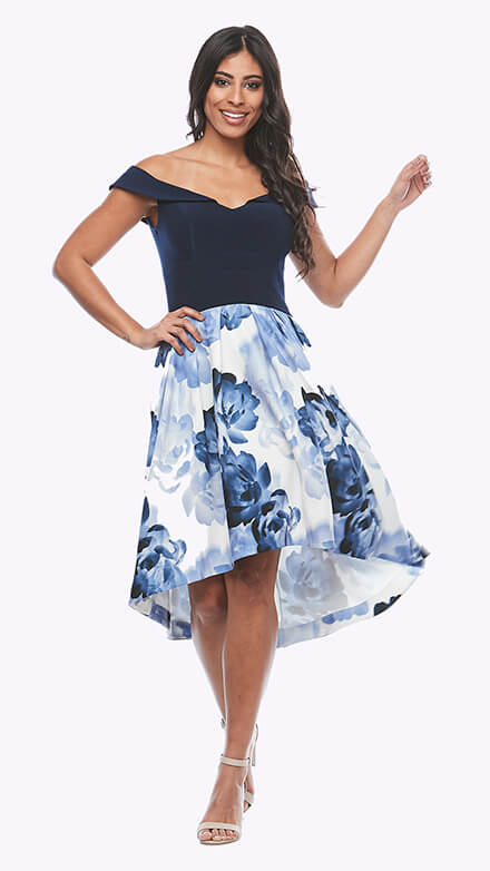Off the shoulder A-line dress with pockets and printed crepe skirt