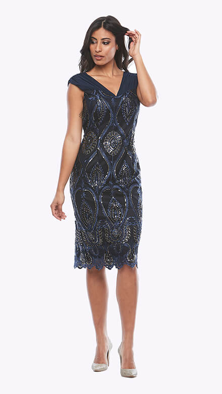 Metallic sequin dress with pleated chiffon on shoulders