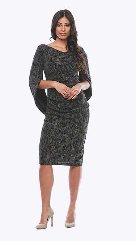Stretch glitter dress with ruched waist and dipped back overlay