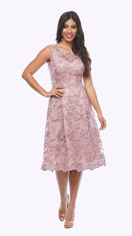 Embroidered lace dress with inverted pleats and sweetheart neckline