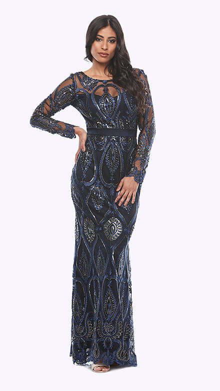 Full length sequin emberoidered mesh gown with long sleeves