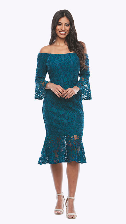 Mid length off the shoulder lace dress with bell sleeves and fluted bottom