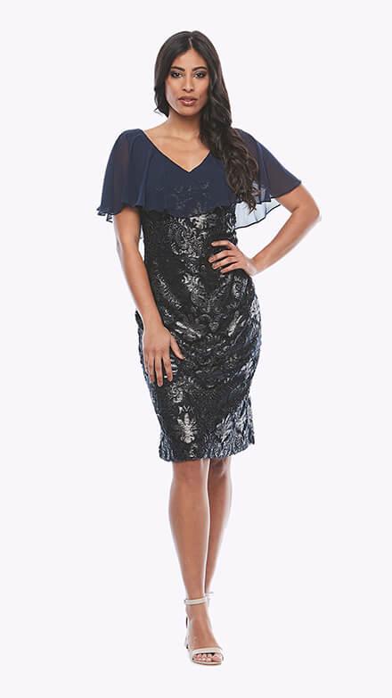 Flocked lurex dress with V neckline and chiffon overlay