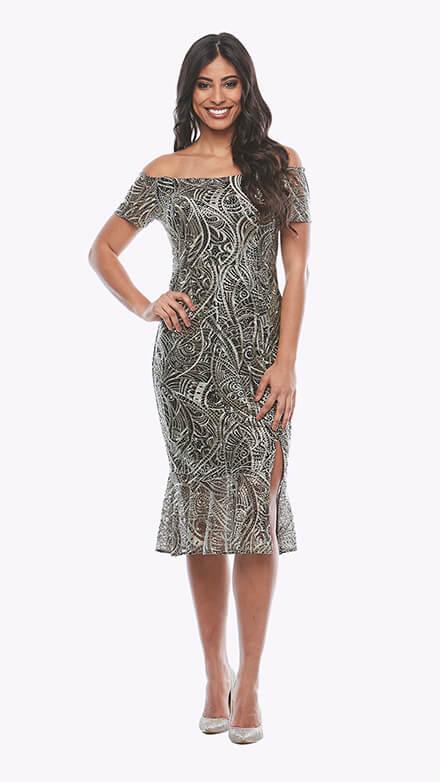 Off the shoulder metallic sequin mesh cocktail dress with side split and flutter hem