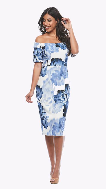 Off the shoulder stretch printed crepe dress