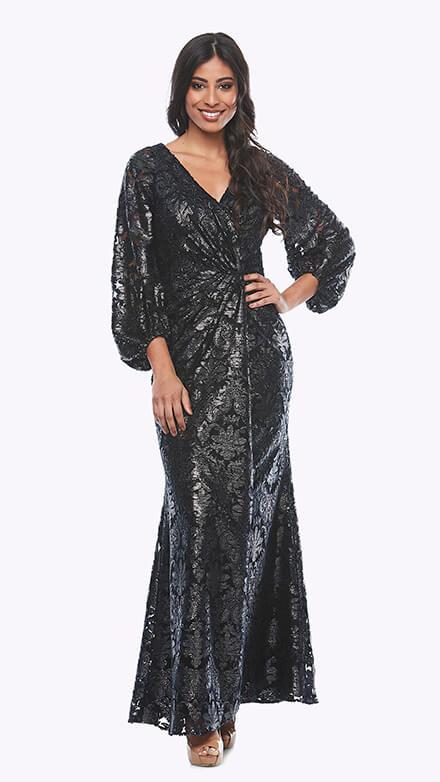 Long peasant sleeve flocked lurex wrap dress