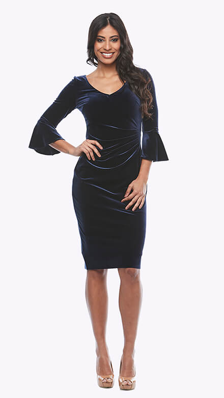Stretch velvet cocktail dress with bell sleeves