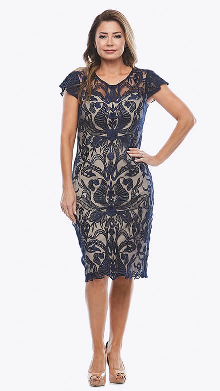 Cap sleeve lace cocktail dress in damask pattern