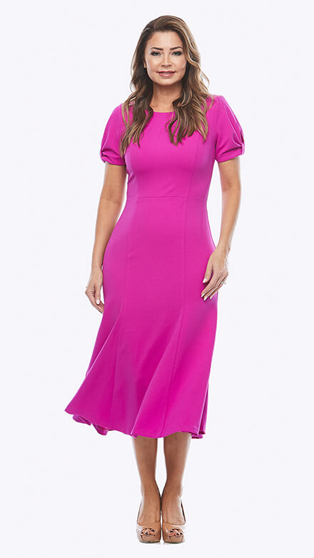 Stretch crepe dress with gathered short sleeve