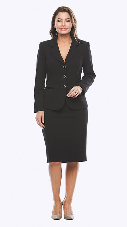 Two-piece suit with mid length skirt