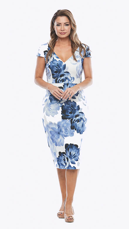 printed crepe cocktail dress with cap sleeve