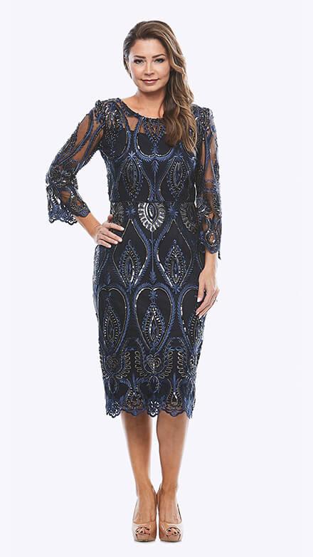 Metallic sequin dress with 3/4 sleeves