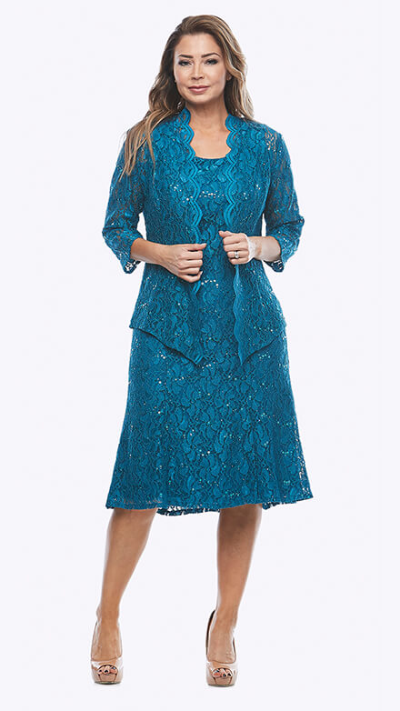 Stretch sequin lace dress with matching scalloped jacket