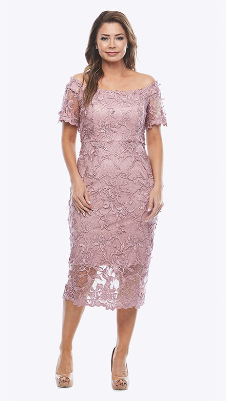 Off the shoulder embroidered lace dress