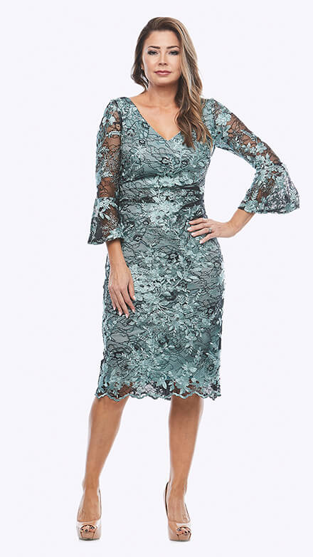Mid-length soft lace dress with bell sleeves and ruching at the waistline
