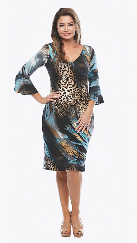 Stretch printed cocktail dress with 3/4 bell sleeves