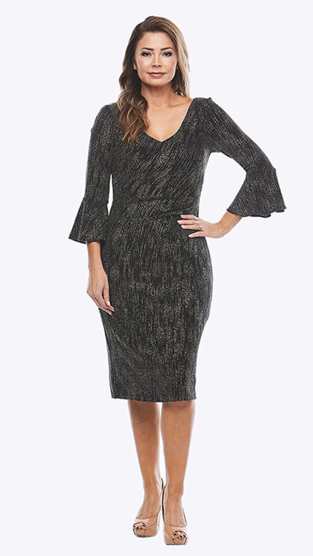 Stretch glitter dress with 3/4 bell sleeves