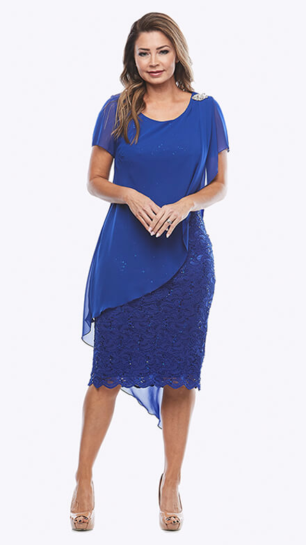 Stretch sequin lace dress with chiffon overlay and shoulder brooch