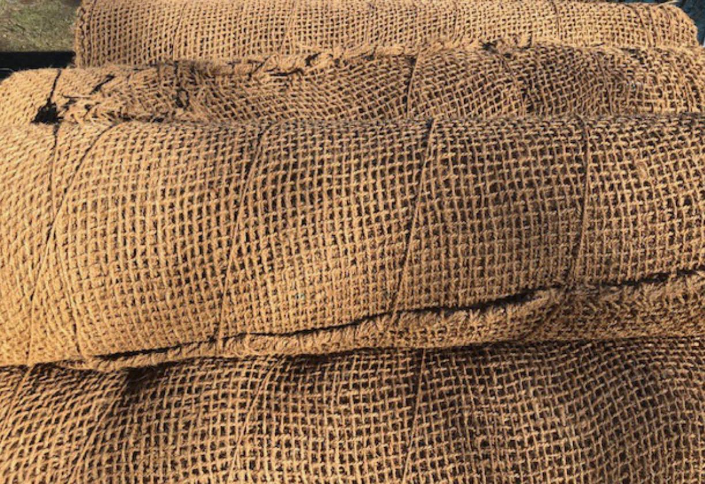 Protierozijska zaščita brežin s kokosovimi mrežami - Kokosova tkanina, Sanacija brežine - Protierozijski geotekstil
