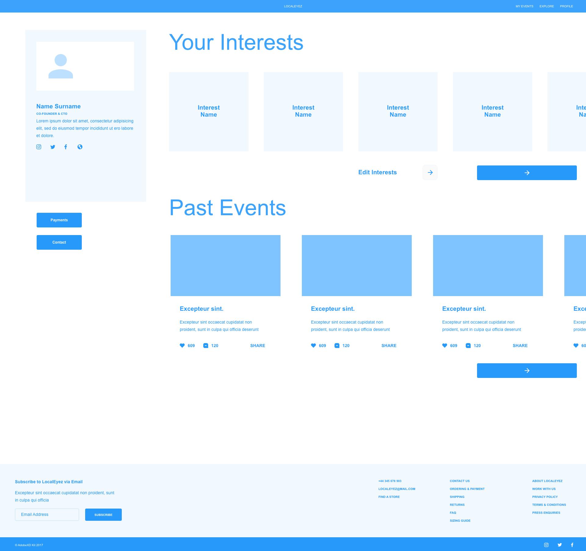 Users dashboard website wireframe for LocalEyez