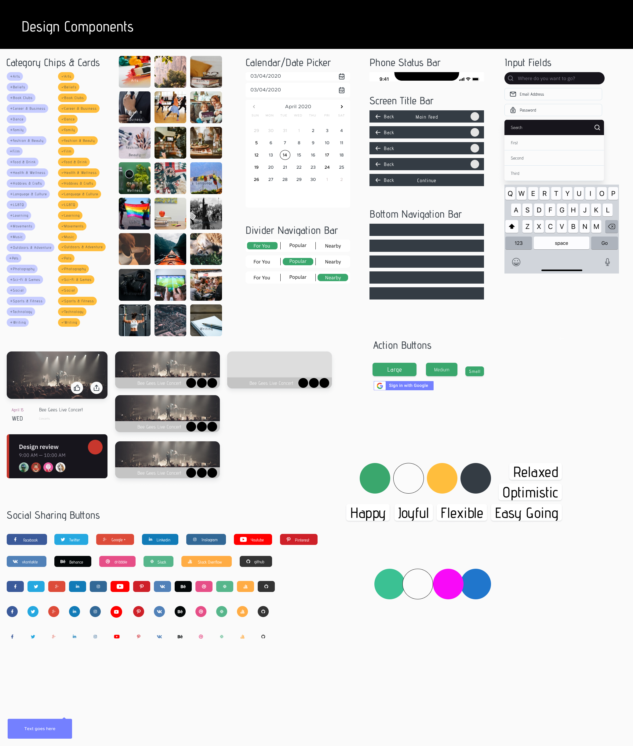 Design library for assets used to create LocalEyez mobile app