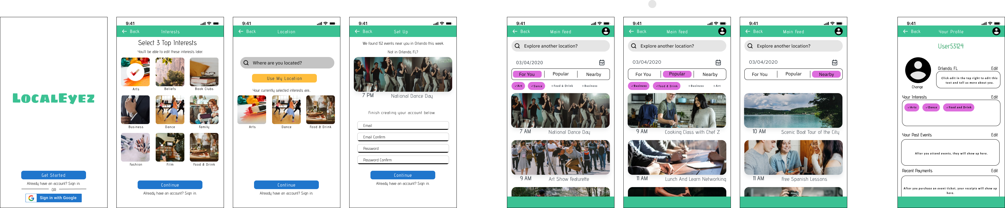 Hi fidelity mockups of LocalEyez mobile app