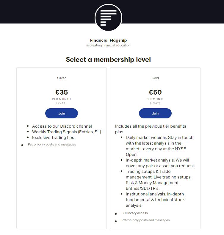 Monthly membership tiers