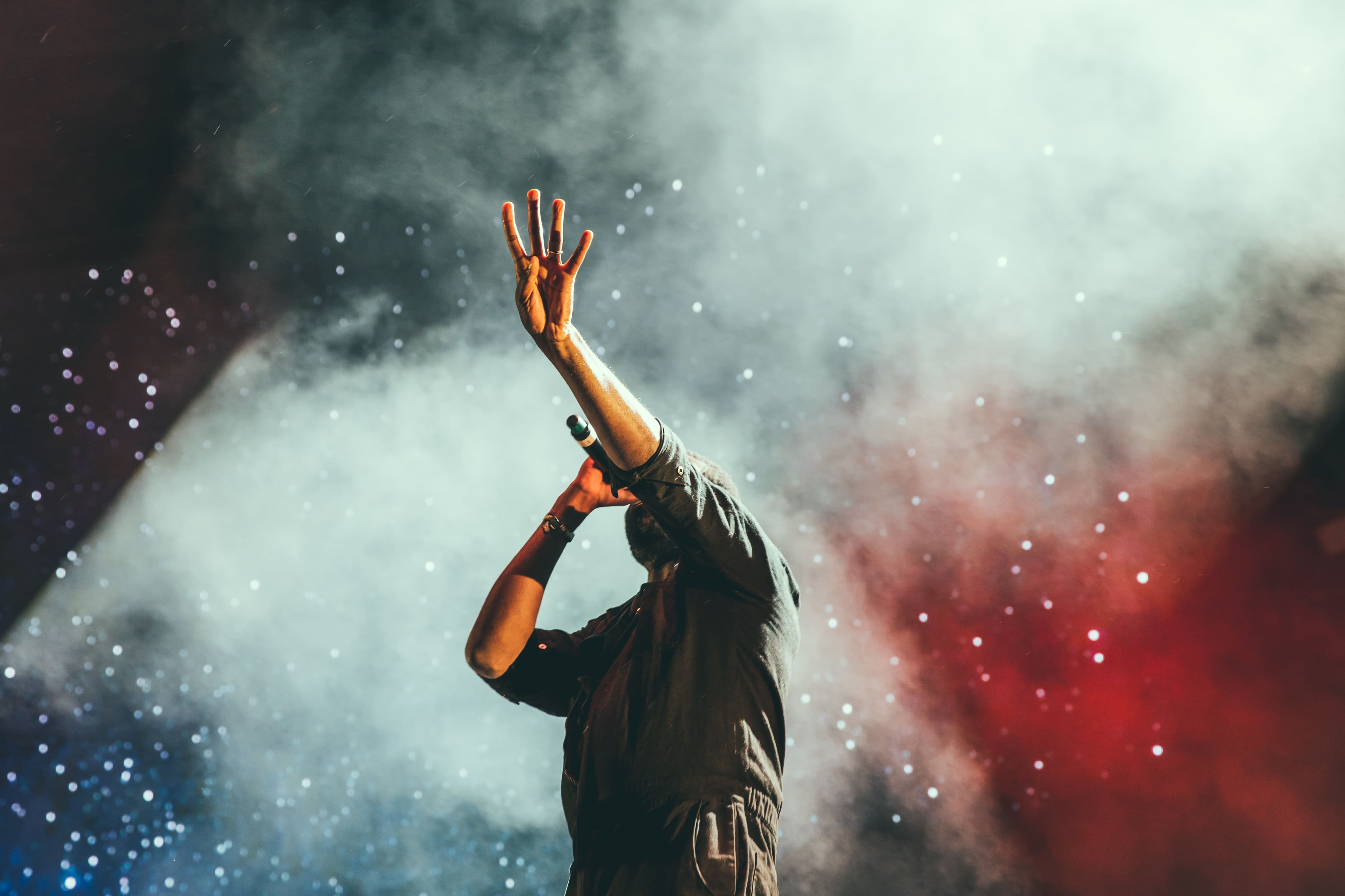 picture of an music artist on stage while performing