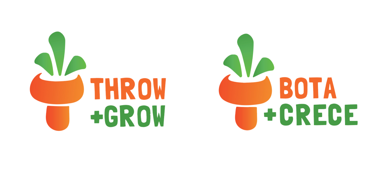 Final logo designs for Throw + Grow in English and Spanish.