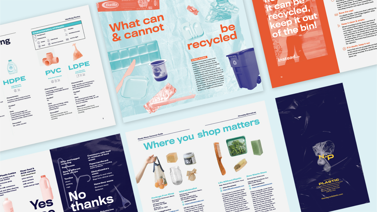 Slightly rotated spreads from The Nature of Plastic's consumer booklet