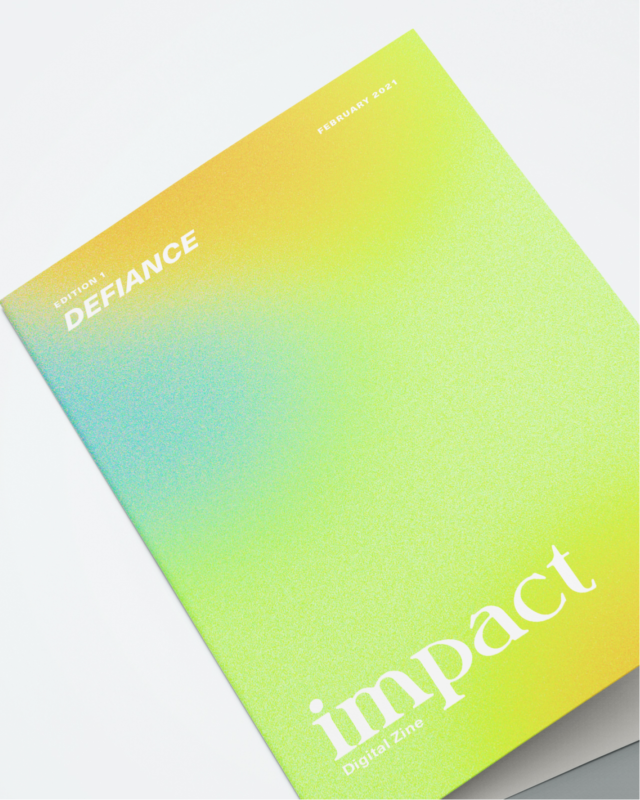 The cover of impact's first zine, featuring a bright gradient and light texture.