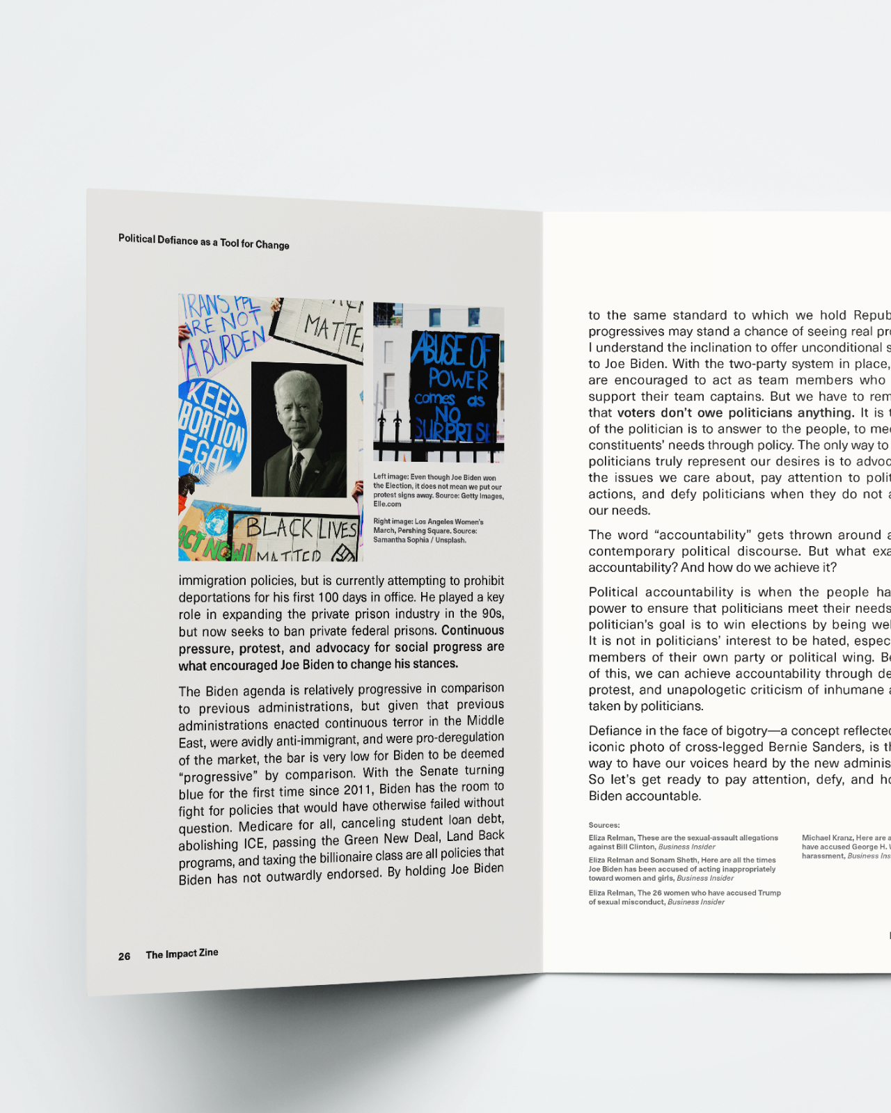 Interior spread showing content within the impact zine