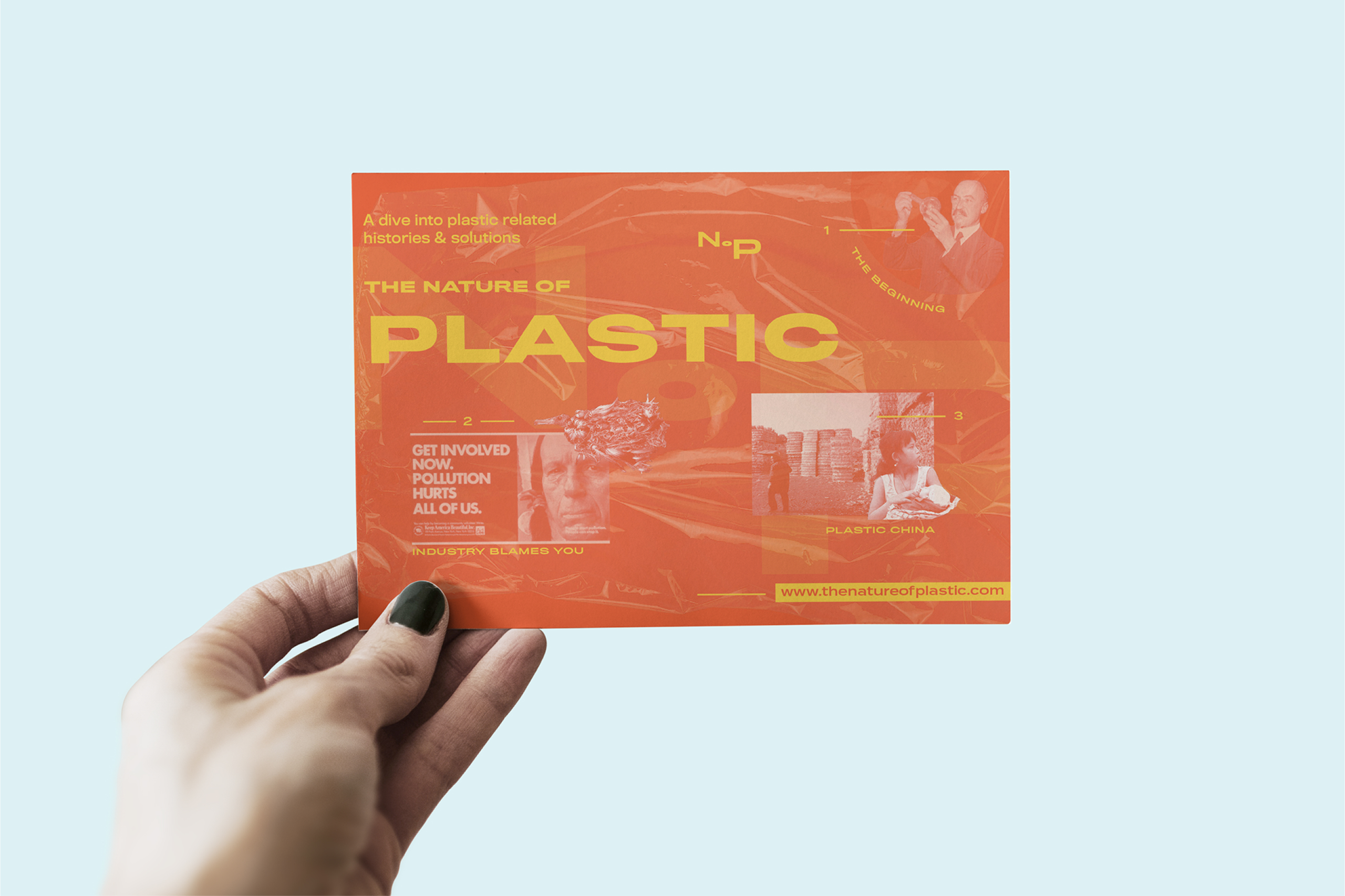 Hand holding up one of The Nature of Plastic's campaign postcards