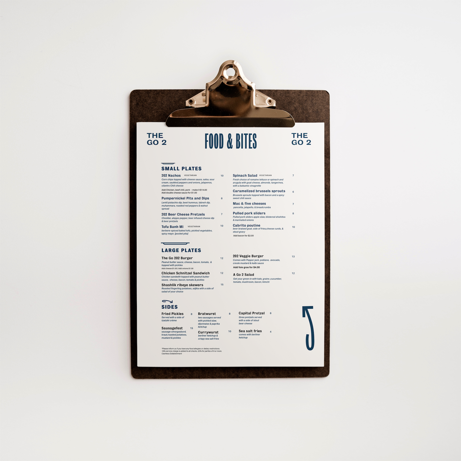 The Go 202 menu on a clipboard
