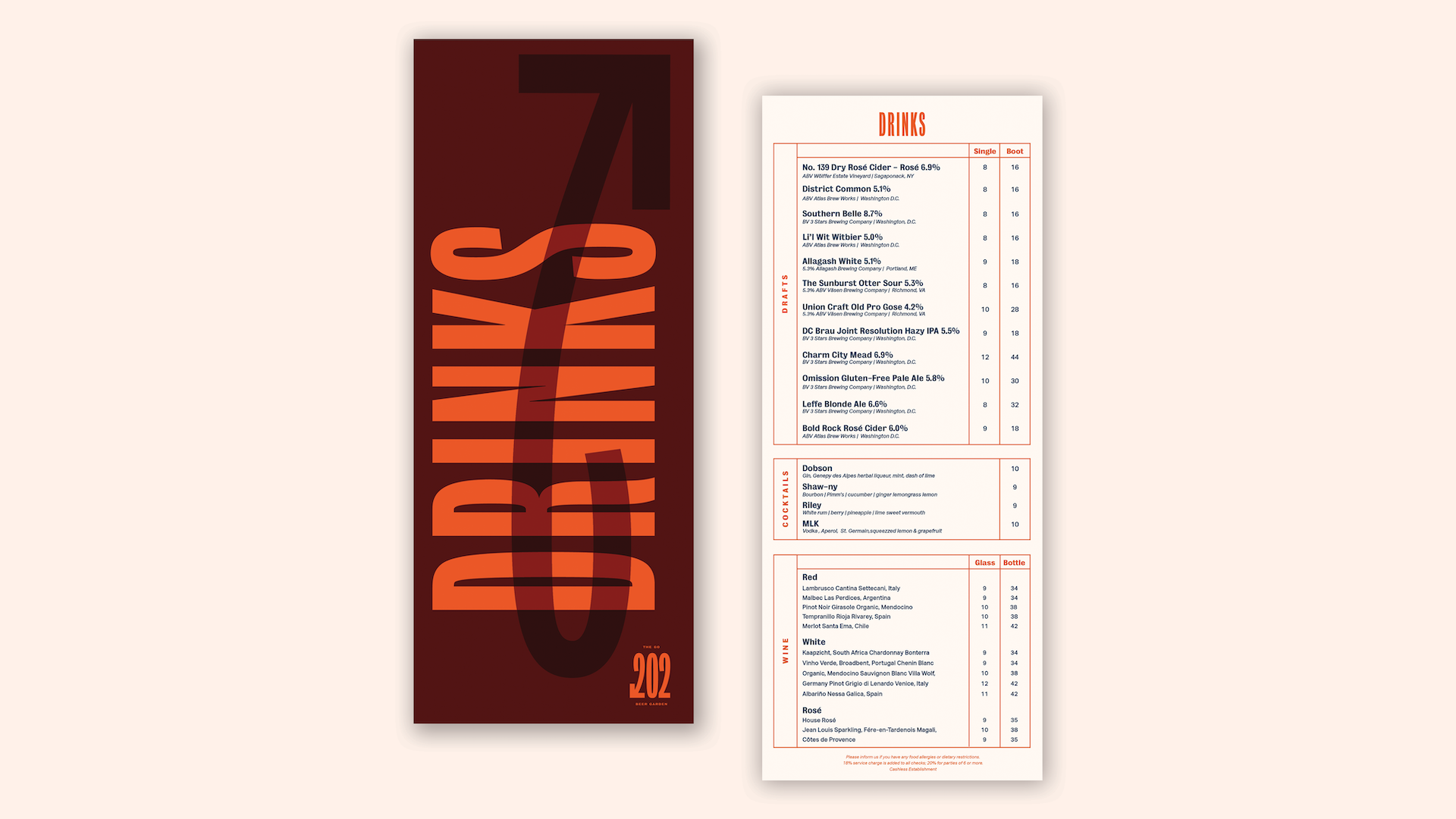 The front and back of The Go 202 drink menu