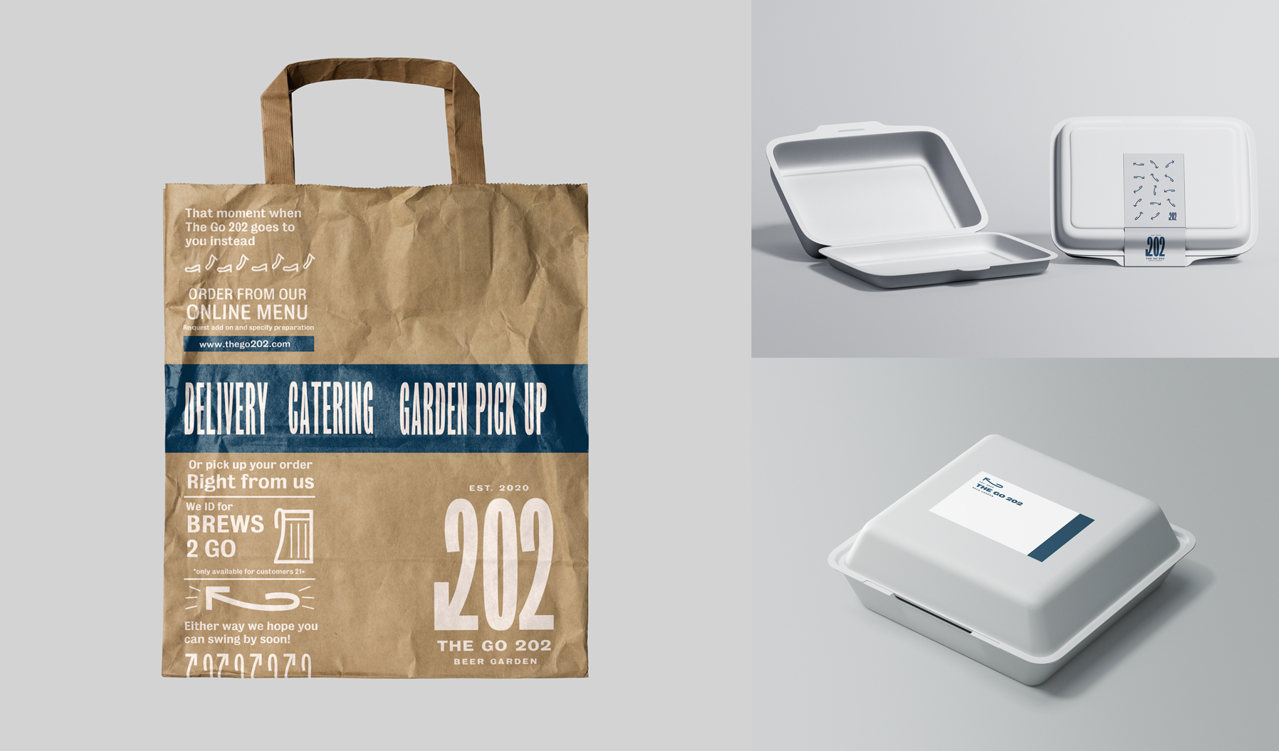 Take out bag and food container mockups for The Go 202