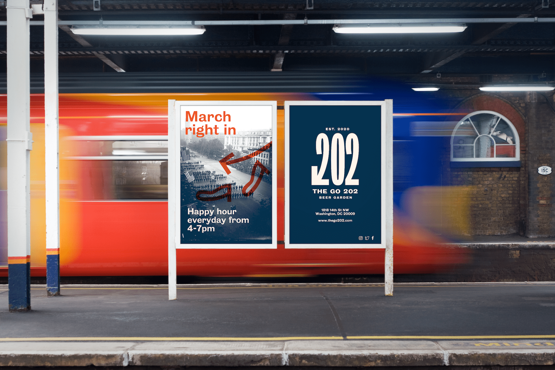 Train station poster holding the print advertisement for The Go 202