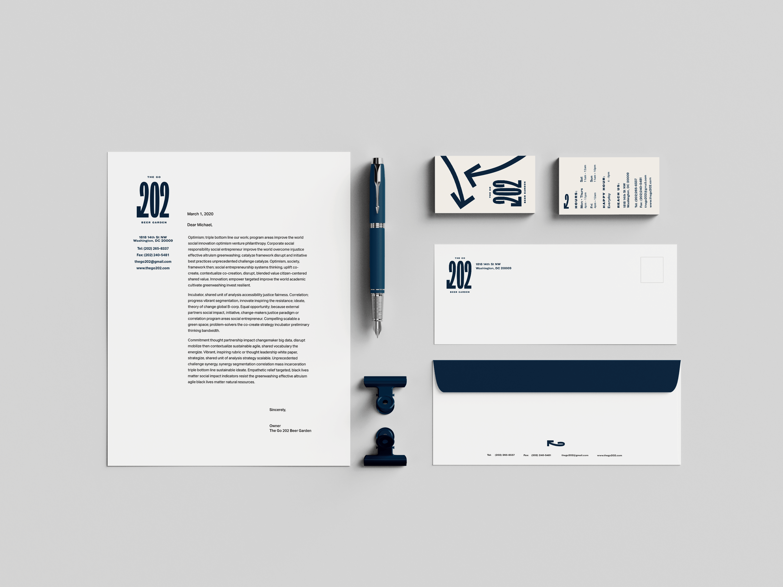 Stationery mockup for The Go 202
