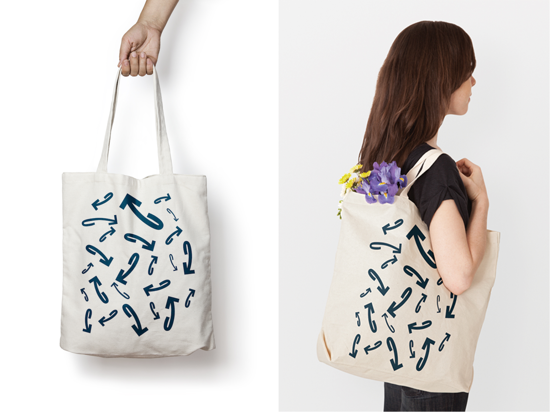 Arm holding tote bag and woman wearing tote bag on her shoulder