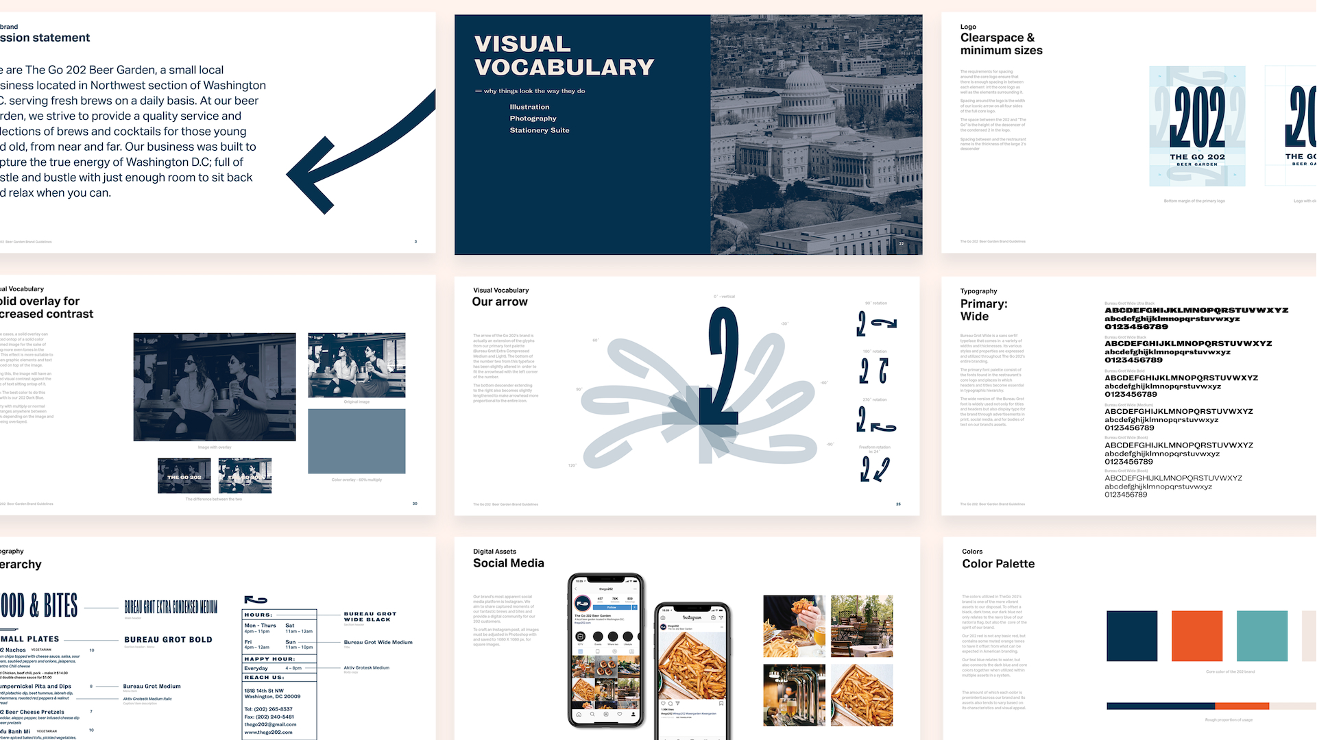 Pages from The Go 202 brand guidelines
