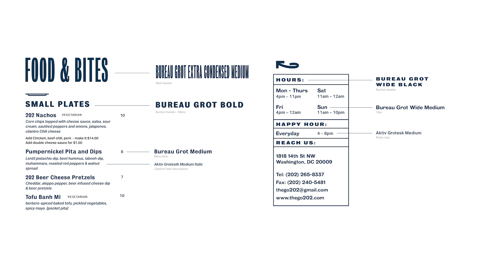 Font dissection of the food menu and the restaurant's business card