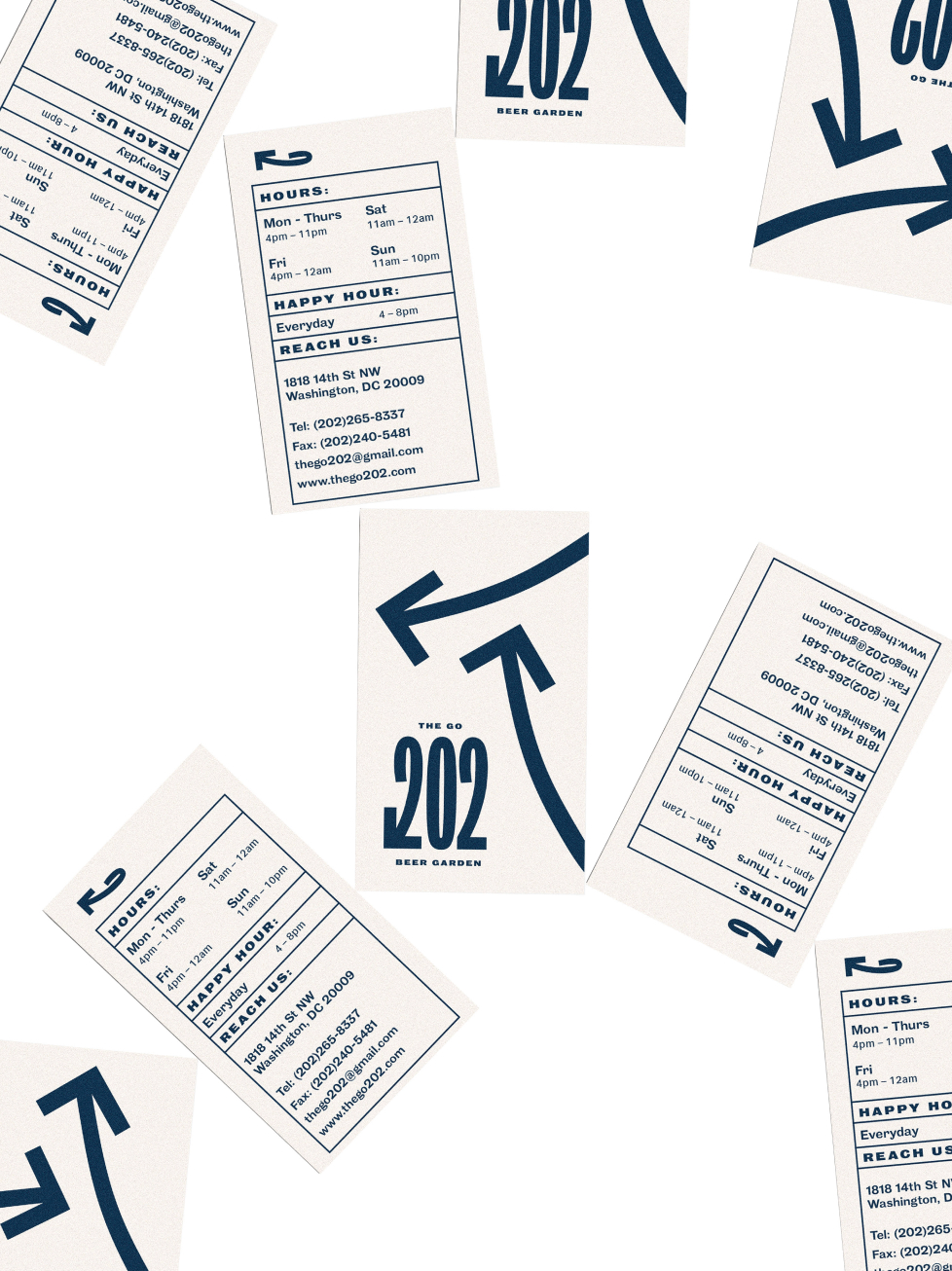 The Go 202's business cards scattered around against white background