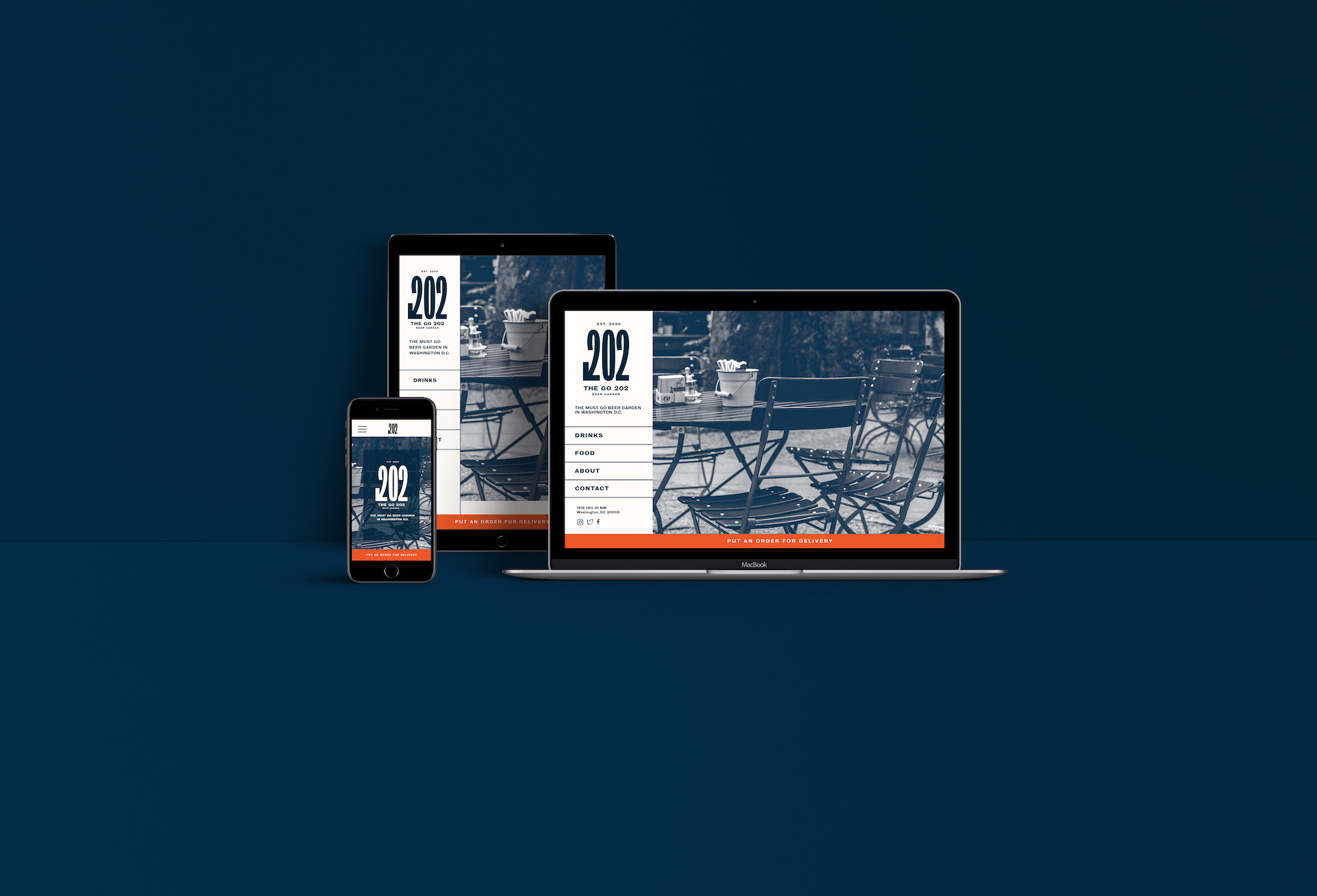 Small website mockup of what could be the web design for the restaurant