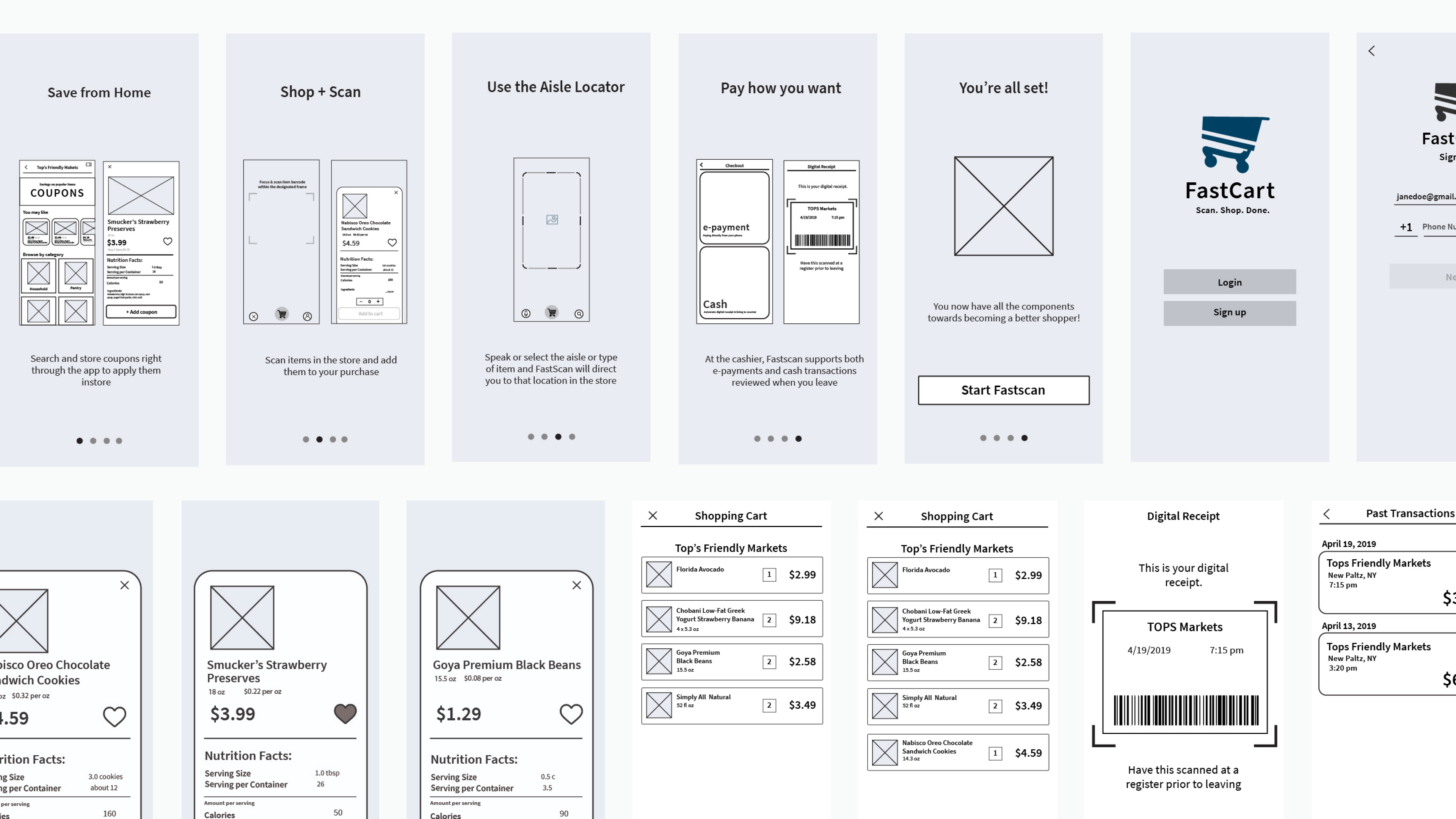 Wireframes created for the different screen instances