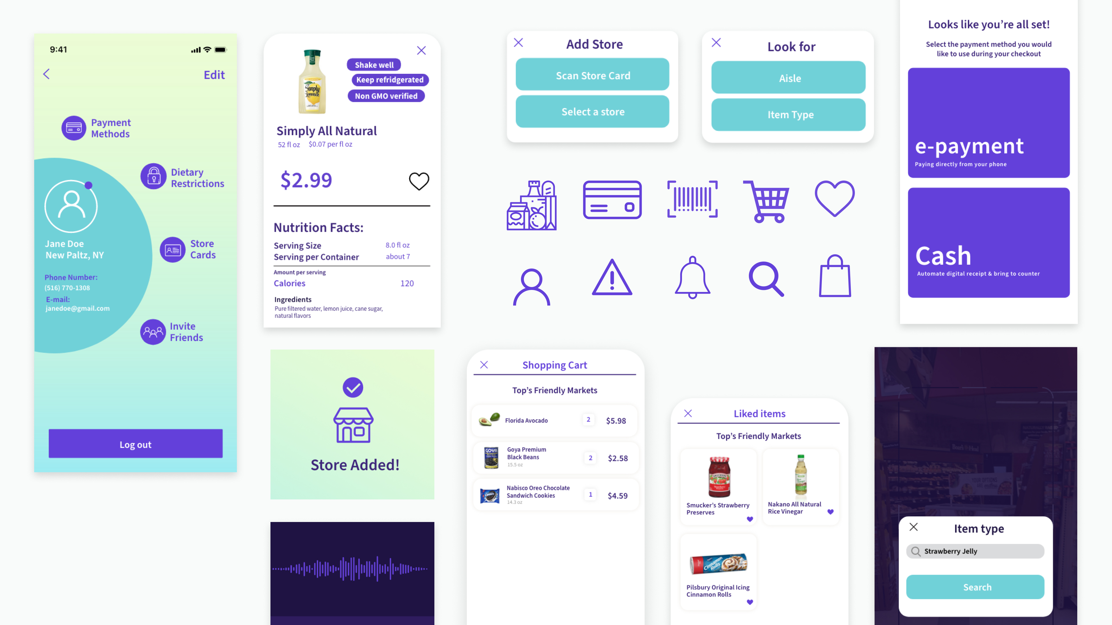 Visual components and select screens for the FastCart app