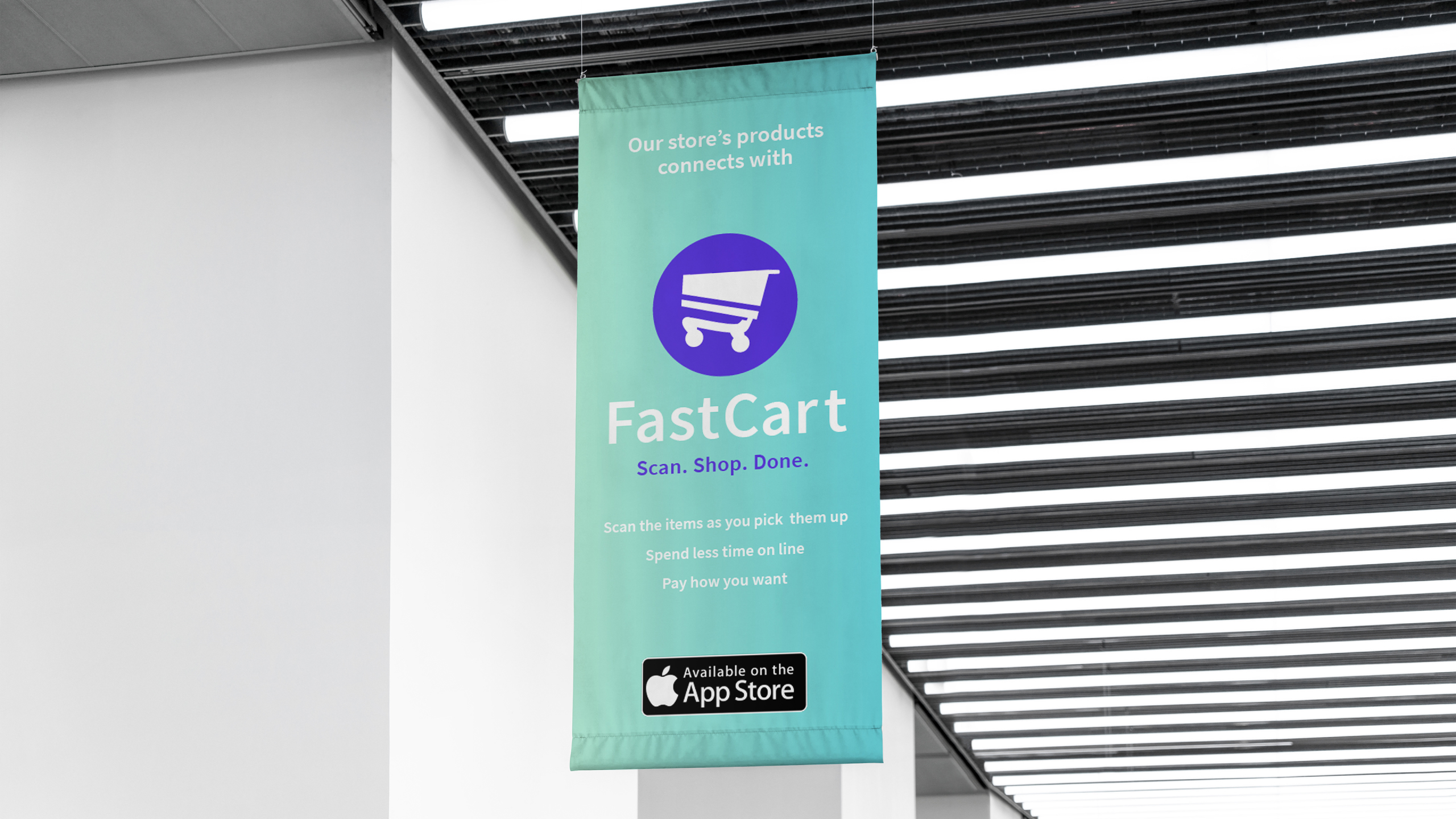 Fast Cart banner hanging from the ceiling in a store