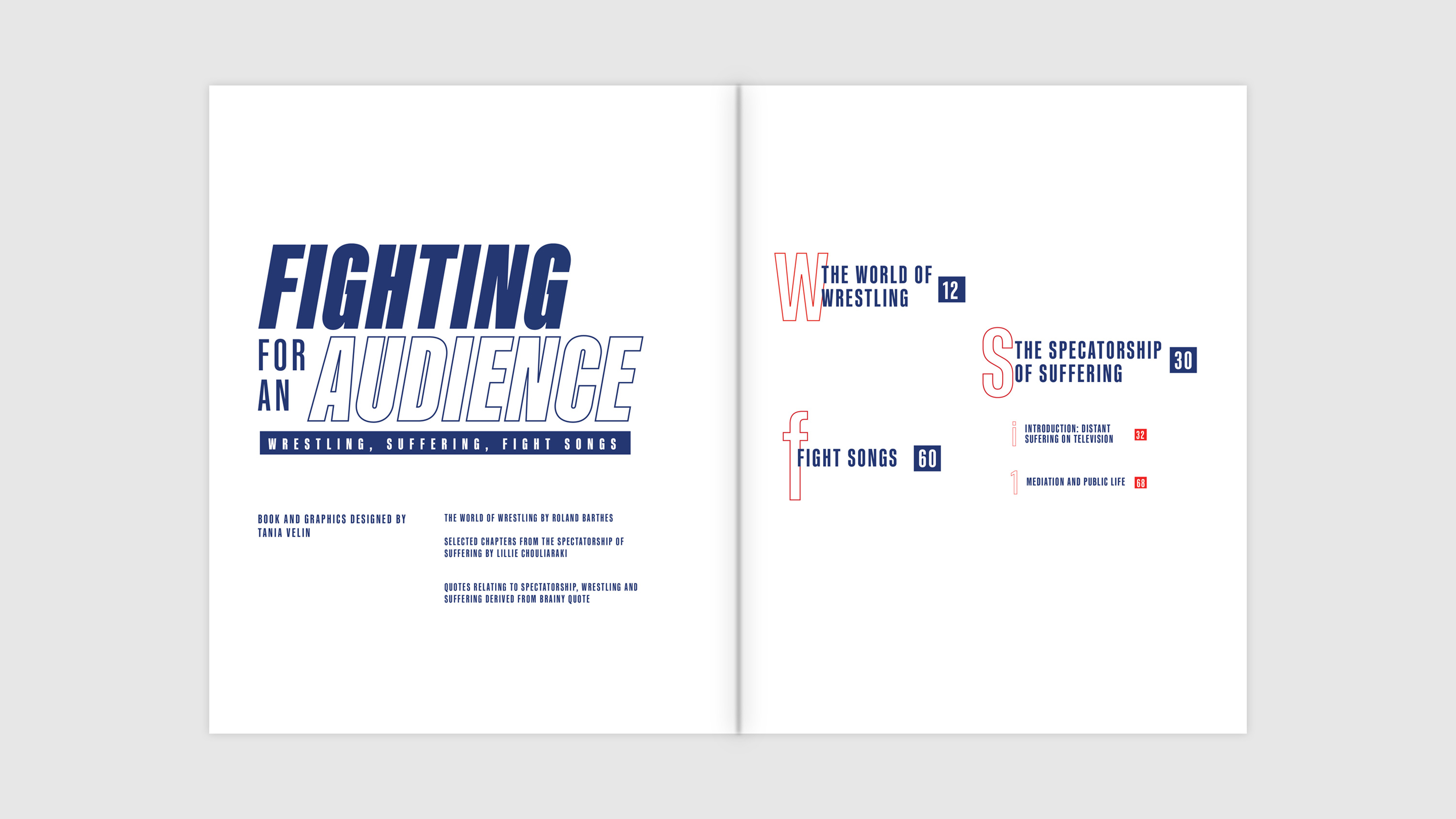 Interior title spread and table of contents