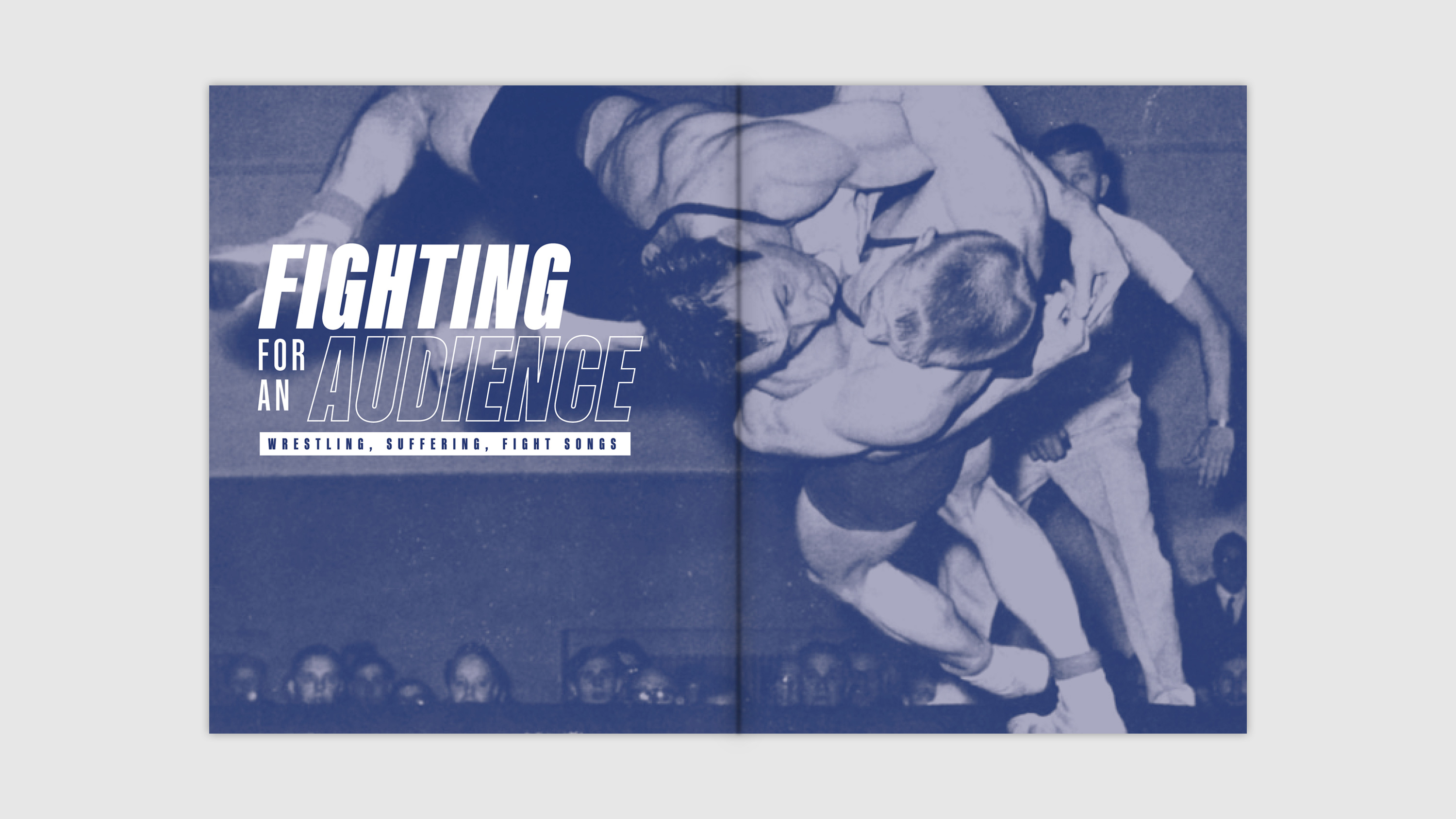 Title spread against blue photo