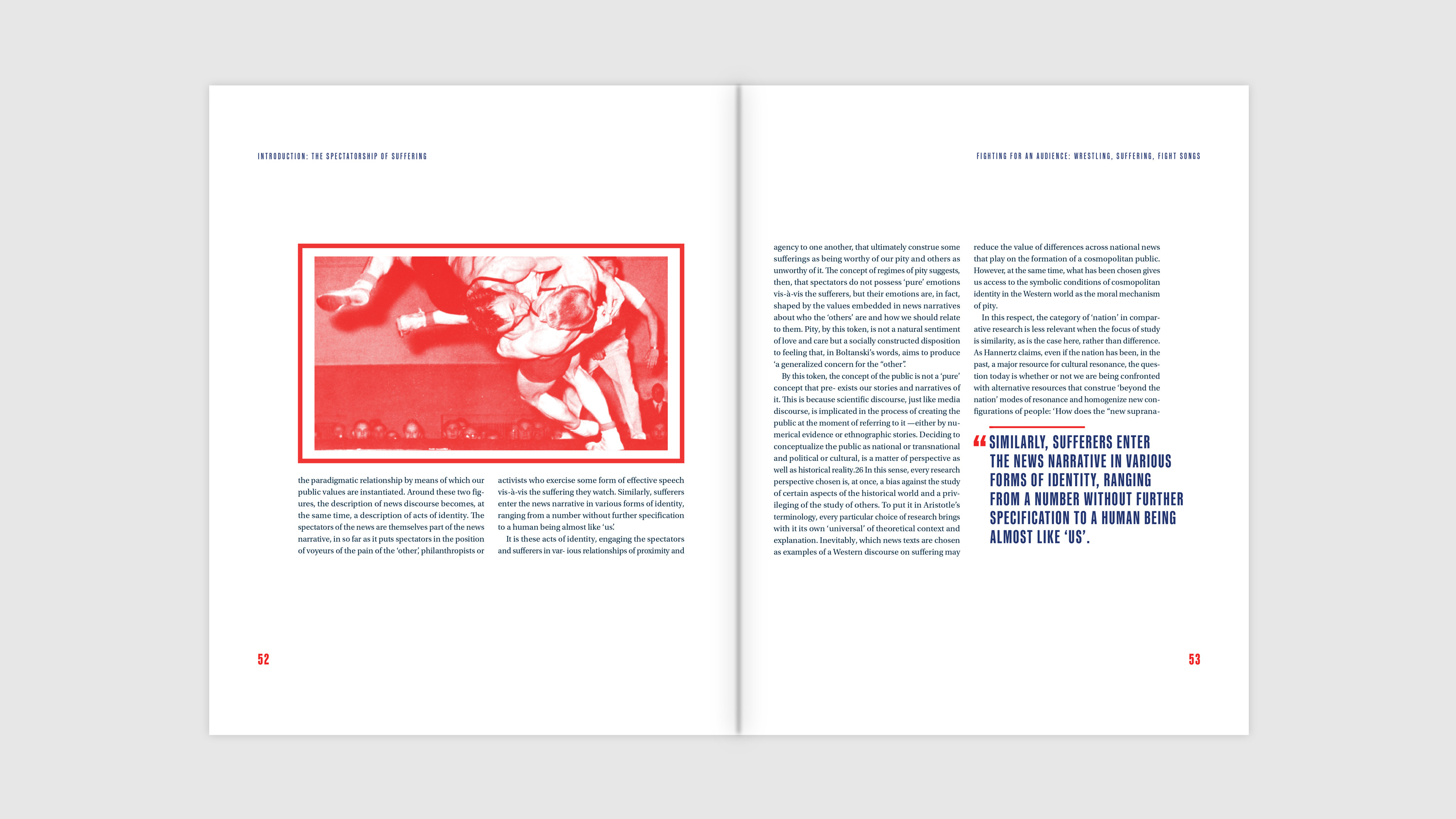 Spread holding imagery, body copy, and large quote